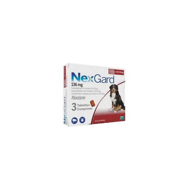 Nexgard tyggetab.136mg(25-50kg),3stk, receptpligt*