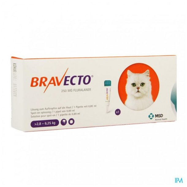 Bravecto spot on, 250mg Fluralanerum. Receptpligt*